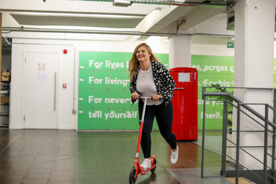 scooting in the office